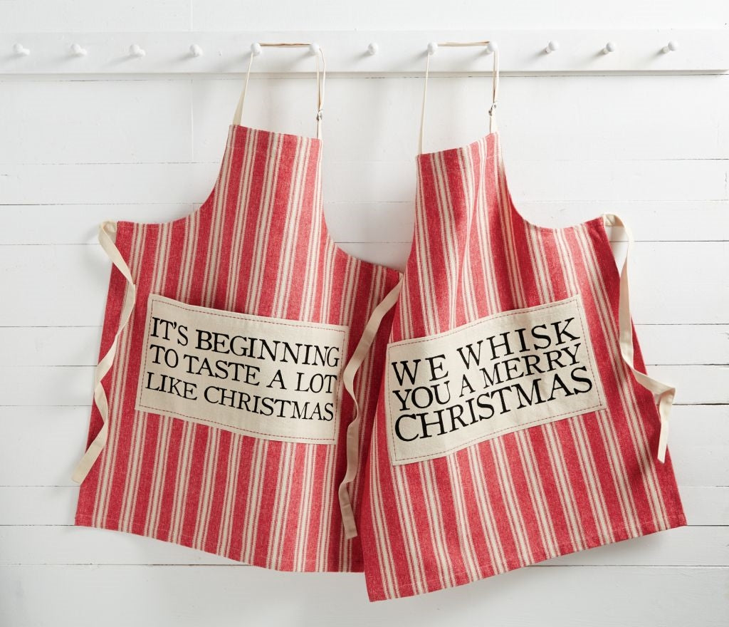 MUD PIE RED GRAINSACK APRONS