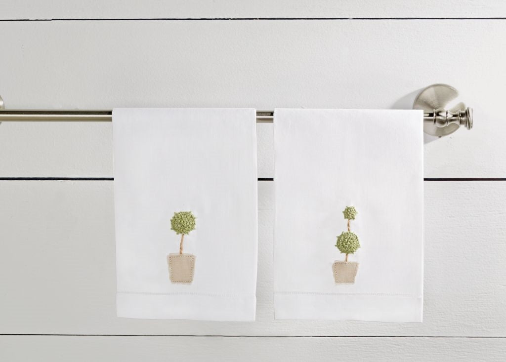 Mud Pie TOPIARY FRENCH KNOT HAND TOWELS