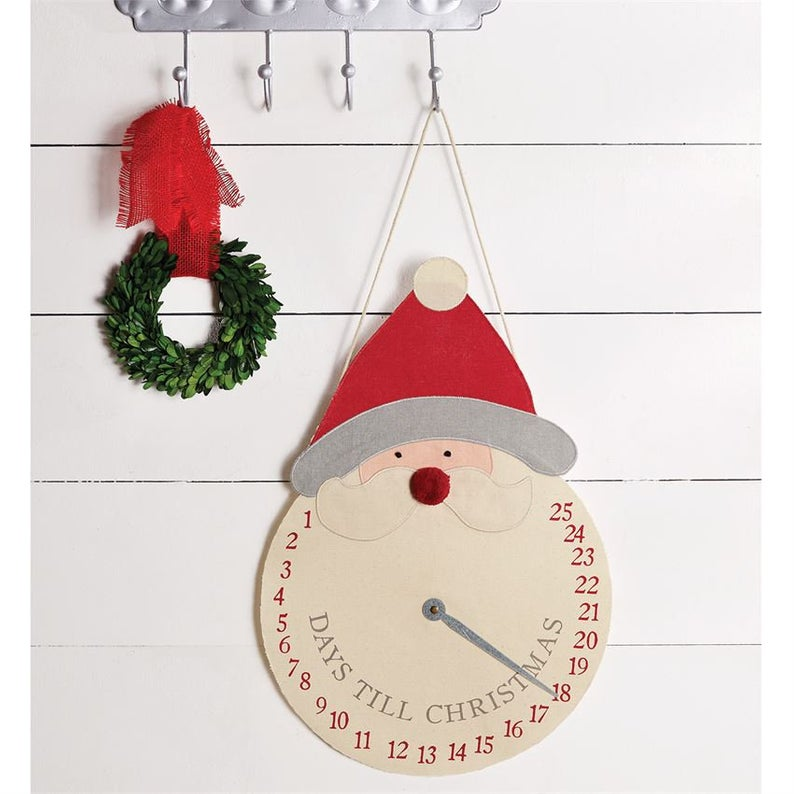 MUD PIE COUNTDOWN SANTA CLOCK HANGER