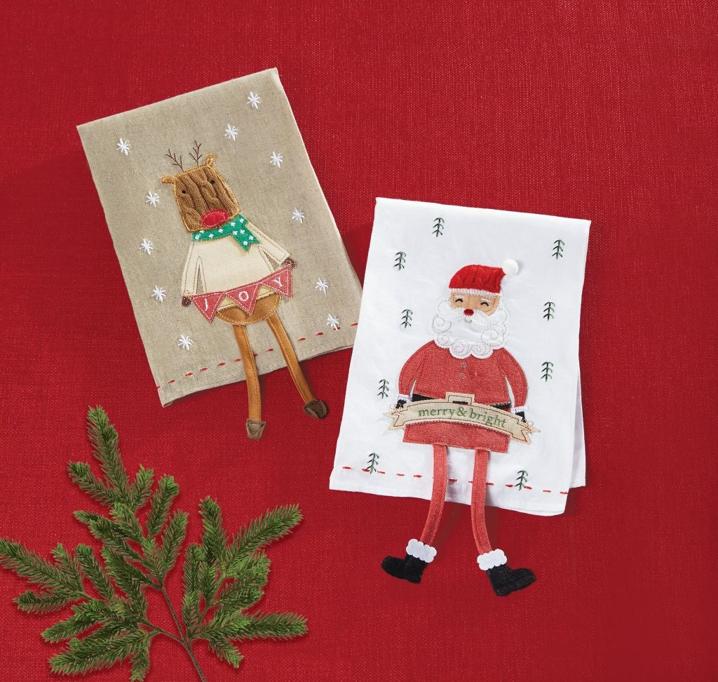 MUD PIE XMAS ICON DANGLE LEG TOWELS