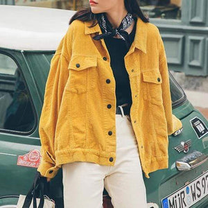 Jenary Jacket Yellow Simple Cotton Jacket