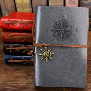 Jenary Journal Gray / Large 165x235mm Compass Leather Journal