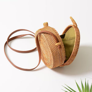 Jenary Rattan Bag Bow Hasp Samantha Handmade Rattan Bag
