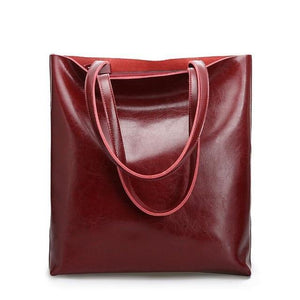 Jenary Shoulder Bag Burgundy Genuine Leather Simple Tote Bag