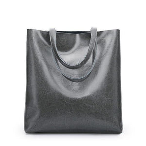 Jenary Shoulder Bag Dark Grey Genuine Leather Simple Tote Bag