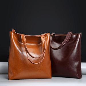 Jenary Shoulder Bag Genuine Leather Simple Tote Bag