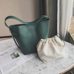 Jenary Shoulder Bag Green Chain Design Leather Tote Shoulder Bag