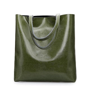 Jenary Shoulder Bag Green Genuine Leather Simple Tote Bag