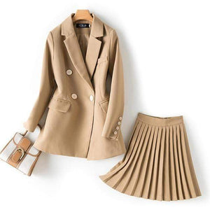 Jenary Skirt Suits Beige / S Two Piece Suit Set With Pleated Skirt