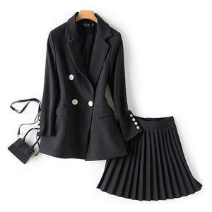 Jenary Skirt Suits Black / S Two Piece Suit Set With Pleated Skirt
