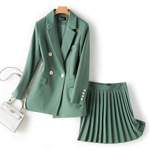 Jenary Skirt Suits Green / S Two Piece Suit Set With Pleated Skirt