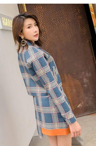 Jenary Skirt Suits Two Piece Plaid Blazer and Mini Skirt Combo