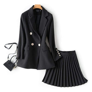 Jenary Skirt Suits Two Piece Suit Set With Pleated Skirt