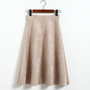 Jenary Skirts Beige / One Size Suede High Waist Midi Skirt