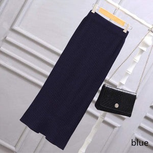 Jenary Skirts blue / S/M Knitted Bodycon Pencil Skirt