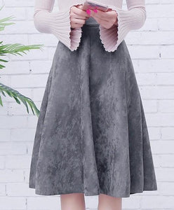 Jenary Skirts Gray / One Size Suede High Waist Midi Skirt