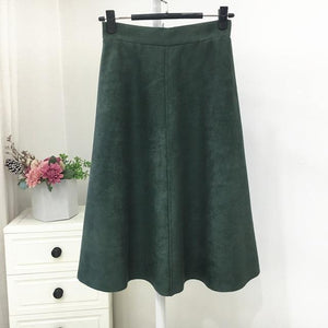 Jenary Skirts Green / One Size Suede High Waist Midi Skirt