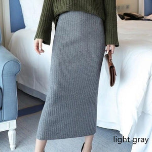 Jenary Skirts light gray / S/M Knitted Bodycon Pencil Skirt