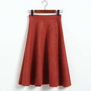 Jenary Skirts Red / One Size Suede High Waist Midi Skirt