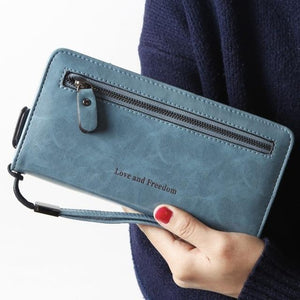 Jenary Wallet Light Blue 'Love & Freedom' Fashion Wallet