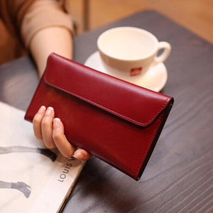 Jenary Wallet Red Genuine Leather Envelope Clutch