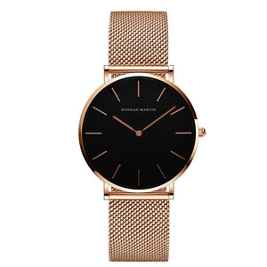 Jenary Watch Rose Gold & Black Luxury Hannah Martin Mesh Band Watch