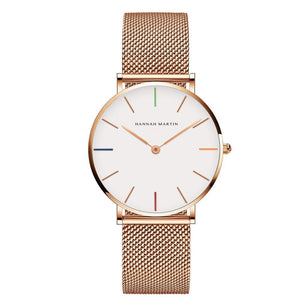 Jenary Watch Rose Gold & Colors Luxury Hannah Martin Mesh Band Watch