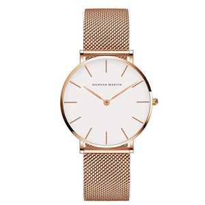 Jenary Watch Rose Gold & Gold Luxury Hannah Martin Mesh Band Watch