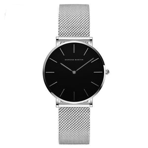 Jenary Watch Silver & Black Luxury Hannah Martin Mesh Band Watch