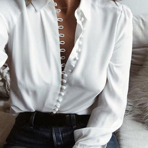 Someonelikethat Store Blouses & Shirts Stylish Blouse Tops Womens Female Elegant Long Sleeve Black White Blouse Shirt Casual Streetwear Cotton Button Blouse