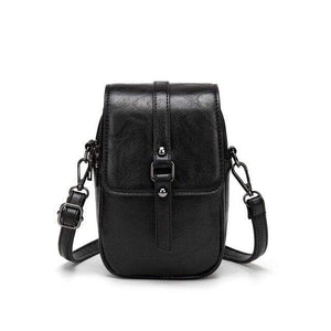 TINKIN Official Store Shoulder Bags Black Multi Functional Soft Leather Small Shoulder Bag Small Vintage Crossbody Bag Cash Purse with 2 Slots for Cellphone Bag|Shoulder Bags