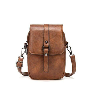TINKIN Official Store Shoulder Bags Brown Multi Functional Soft Leather Small Shoulder Bag Small Vintage Crossbody Bag Cash Purse with 2 Slots for Cellphone Bag|Shoulder Bags