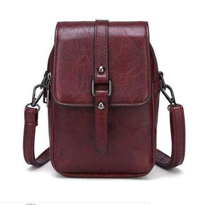 TINKIN Official Store Shoulder Bags burgundy Multi Functional Soft Leather Small Shoulder Bag Small Vintage Crossbody Bag Cash Purse with 2 Slots for Cellphone Bag|Shoulder Bags
