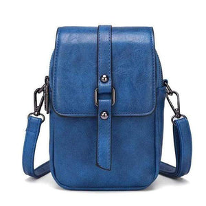 TINKIN Official Store Shoulder Bags dark blue Multi Functional Soft Leather Small Shoulder Bag Small Vintage Crossbody Bag Cash Purse with 2 Slots for Cellphone Bag|Shoulder Bags