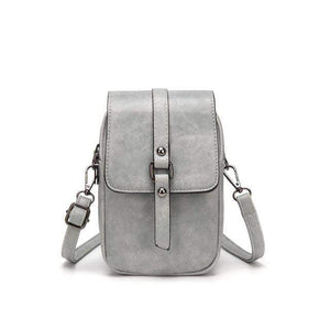 TINKIN Official Store Shoulder Bags Gray Multi Functional Soft Leather Small Shoulder Bag Small Vintage Crossbody Bag Cash Purse with 2 Slots for Cellphone Bag|Shoulder Bags