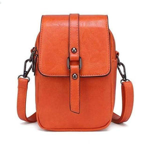 TINKIN Official Store Shoulder Bags orange Multi Functional Soft Leather Small Shoulder Bag Small Vintage Crossbody Bag Cash Purse with 2 Slots for Cellphone Bag|Shoulder Bags