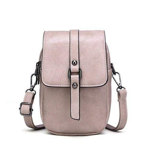TINKIN Official Store Shoulder Bags Pink Multi Functional Soft Leather Small Shoulder Bag Small Vintage Crossbody Bag Cash Purse with 2 Slots for Cellphone Bag|Shoulder Bags