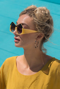 Hello-Yellow Oversized Retro Sunnies