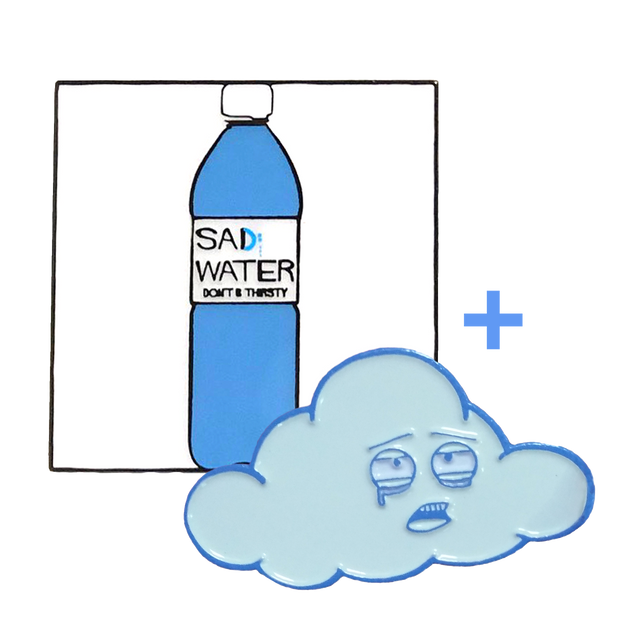 SAD WATER BOTTLE + CLOUD ENAMEL PIN SPECIAL