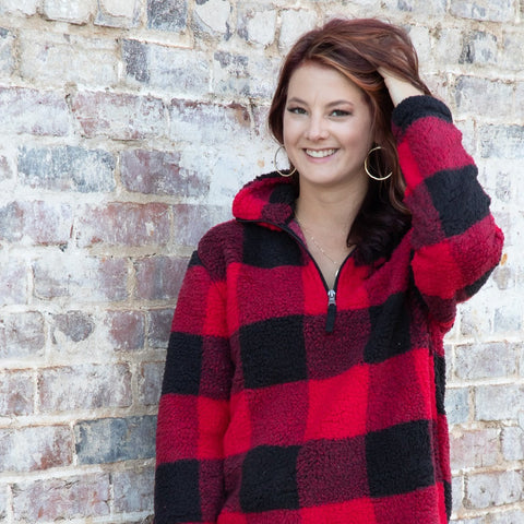 Buffalo Plaid Sherpa Pullover