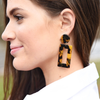 Dark Tortoise Rectangle Earrings