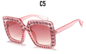ROYAL GIRL Crystal Rim Women Sunglasses Retro Brand Desginer Square Oversize Sun Glasses ss310
