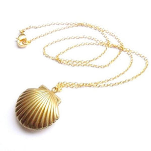 Seashell Locket Pendant Gold Locket Gold Brass Sea Shell Necklace