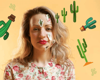 Woman obsessed with cactus