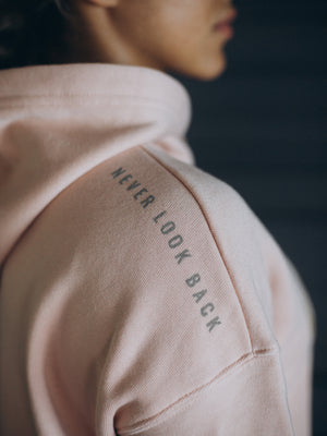 """Never Look Back"" Cropped Hoodie - Faded Peach"