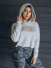 """Never Look Back"" Cropped Hoodie - Faded Off-White"