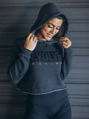 """Never Look Back"" Cropped Hoodie - Charcoal"