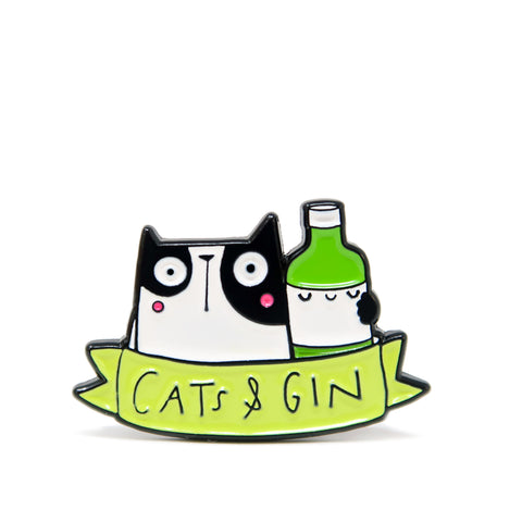 Cats and gin enamel pin badge