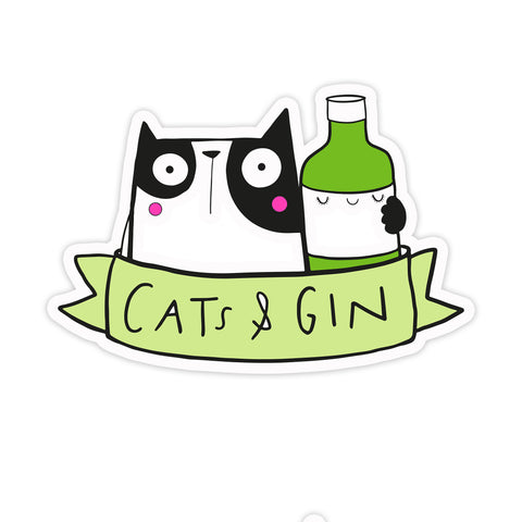 Cats and gin sticker
