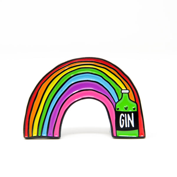 Rainbow Gin Enamel Pin Badge - Hofficraft